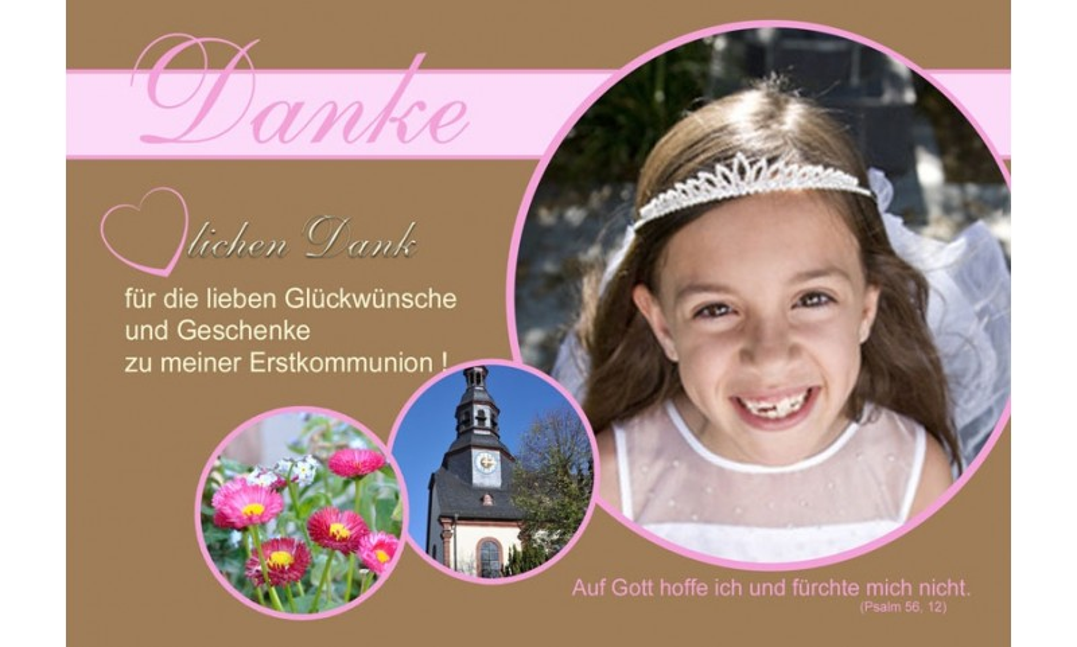 Danksagung Kommunion / Konfirmation, Fotokarte 10x15 cm, braun rosa