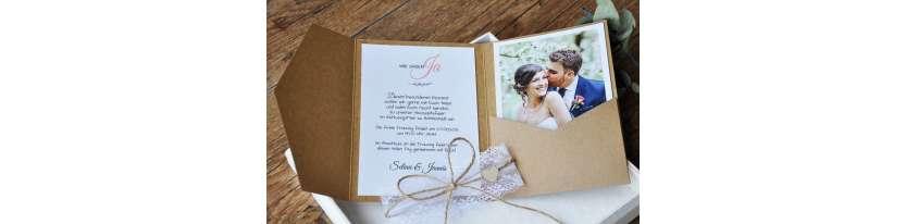 Pocketfold Hochzeitseinladungen diy Kraftpapier Spitze weiß Einladungskarten Hochzeit mit Foto