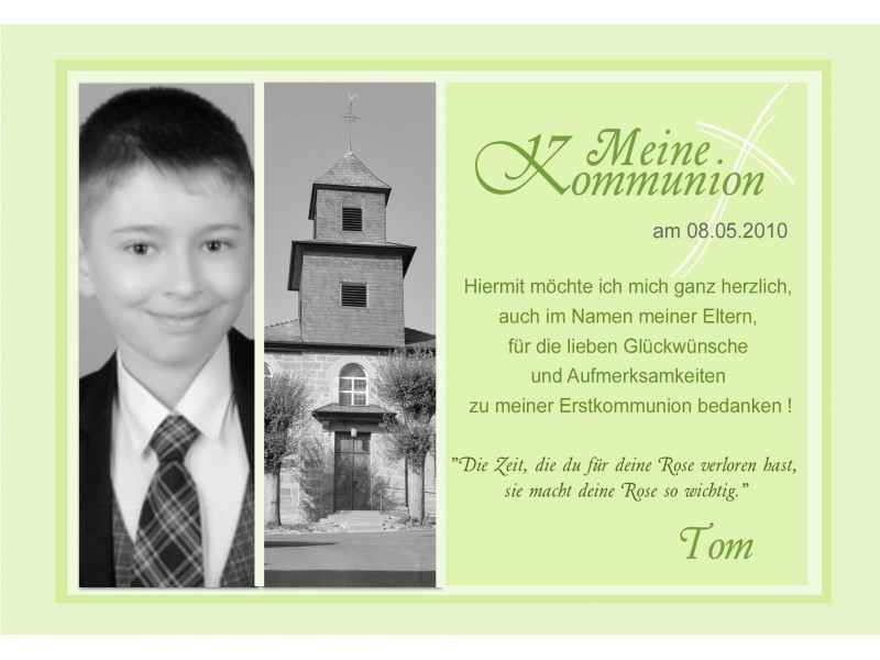 Danksagung Kommunion / Konfirmation, Danksagungskarte, Fotokarte, Gelb,  Einladung