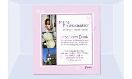 Danksagung Kommunion / Konfirmation, Fotokarte 10x10 cm, rosa