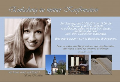 Einladung Kommunion / Konfirmation, Fotokarte 10x15 Cm, Braun Hellblau