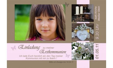 Einladung Kommunion / Konfirmation, Fotokarte 10x18 cm, braun rosa