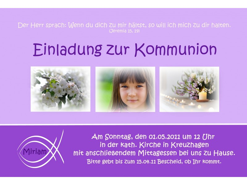 einladung kommunion konfirmation einladungskarte fotokarte lila. Black Bedroom Furniture Sets. Home Design Ideas