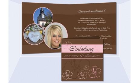 Einladung Kommunion / Konfirmation, Klappkarte 12,5x12,5 cm, braun rosa