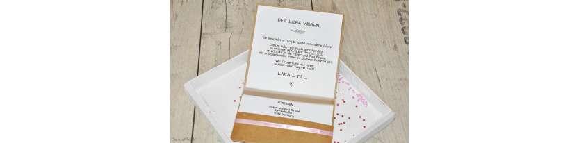 Einladungskarten Hochzeit Pocketfold Kraftpapier Vintage Spitze mit Foto