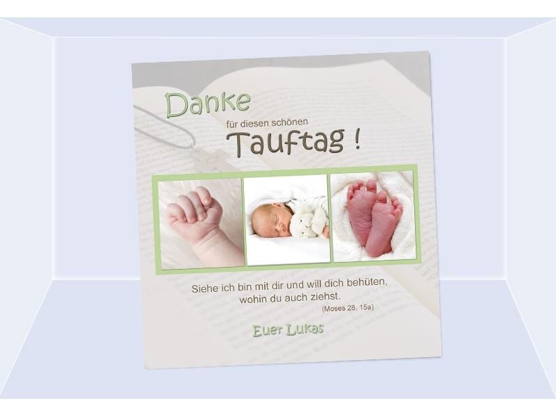 Danksagung Taufe, Taufkarte, Fotokarte 10x10 cm, beige