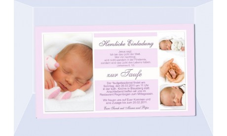 "Einladung Taufe ""Sarah"", Taufeinladung, Fotokarte 10x18 cm, rosa"
