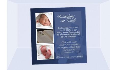 "Einladung Taufe ""Elias"", Taufeinladung, Fotokarte 10x10 cm, dunkelblau"