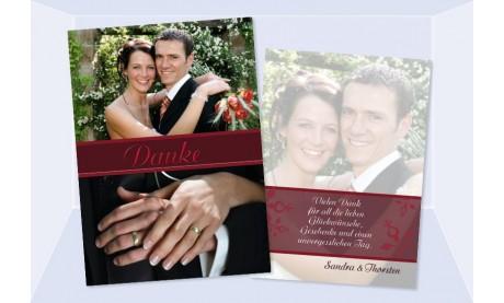 """Danksagungskarte, Karte Hochzeit """"Romanik"""", rot"""