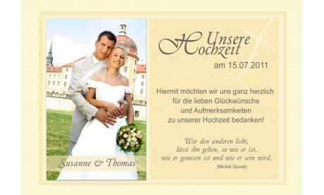 Danksagungskarte, Karte Hochzeit, Fotokarte, gelb