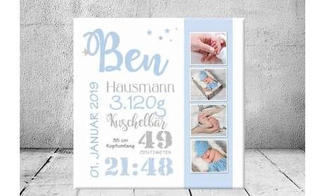 Geschenk Geburt personalisiert Baby Wandbild Geburtsdaten Leinwand Junge Mädchen Kinderzimmer Sterne