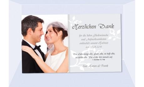 Danksagungskarte, Karte Hochzeit, Fotokarte, grau