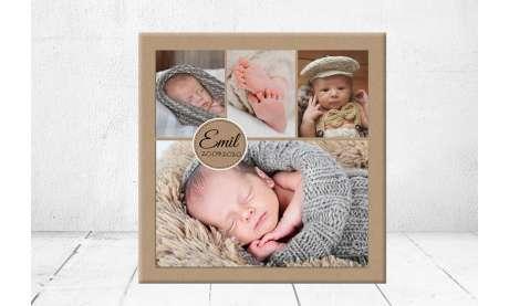 Geschenk Geburt personalisiert Baby  Fotocollage Wandbild Geburtsdaten Leinwand Junge Mädchen Kinderzimmer mit Foto