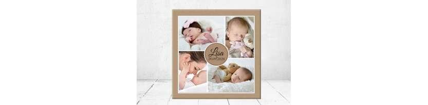 Fotocollage Geschenk Geburt personalisiert Baby Wandbild Geburtsdaten Leinwand Junge Mädchen Kinderzimmer mit Foto
