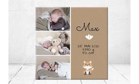 Geschenk Geburt personalisiert Baby Wandbild Geburtsdaten Leinwand Junge Mädchen Kinderzimmer Fuchs