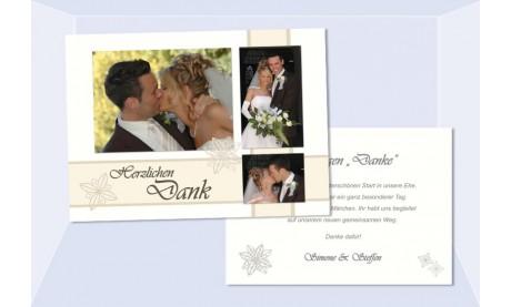 Danksagungskarte, Karte Hochzeit, creme