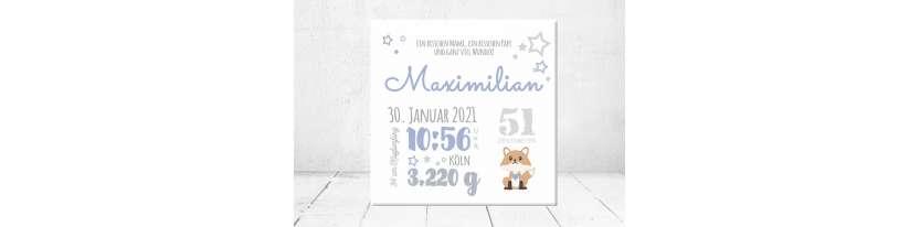 Baby Wandbild Geburtsdaten Leinwand Geschenk Geburt personalisiert Junge Mädchen Kinderzimmer Fuchs