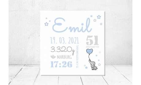 Geschenk Geburt personalisiert Baby Wandbild Geburtsdaten Leinwand Junge Mädchen Elefant Kinderzimmer