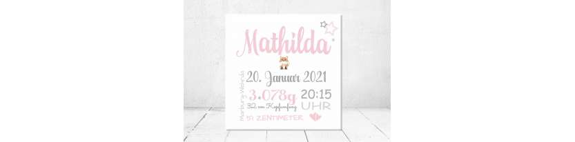 Geschenk Geburt personalisiert Baby Wandbild Geburtsdaten Leinwand Junge Mädchen Fuchs Kinderzimmer