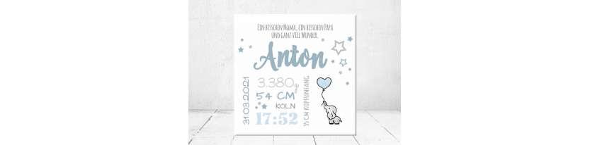 Baby Wandbild Geburtsdaten Leinwand Geschenk Geburt personalisiert Junge Mädchen Kinderzimmer Elefant