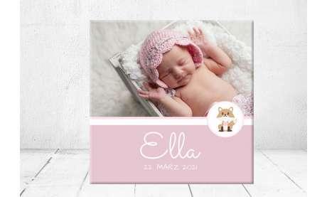 Geschenk Geburt personalisiert Baby Wandbild Geburtsdaten Leinwand Junge Mädchen Kinderzimmer rosa