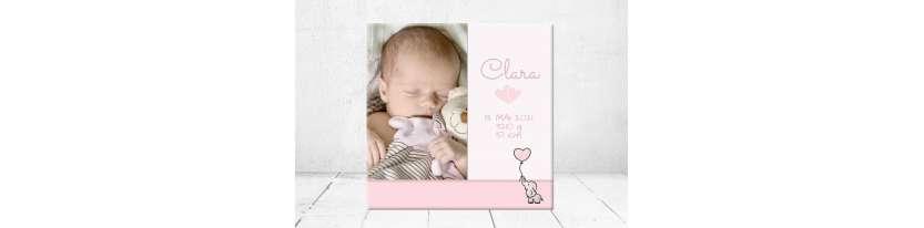 Geschenk Geburt personalisiert Baby Wandbild Geburtsdaten Leinwand Junge Mädchen Kinderzimmer mit Foto