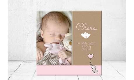 Geschenk Geburt personalisiert Baby Wandbild Geburtsdaten Leinwand Junge Mädchen Kinderzimmer Elefant