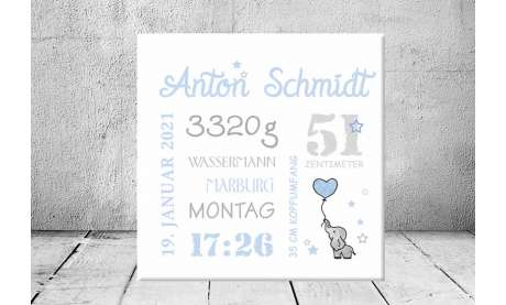 Baby Wandbild Geburtsdaten Leinwand Geschenk Geburt personalisiert Junge Mädchen Kinderzimmer