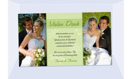 Danksagungskarte, Karte Hochzeit, Fotokarte, grün