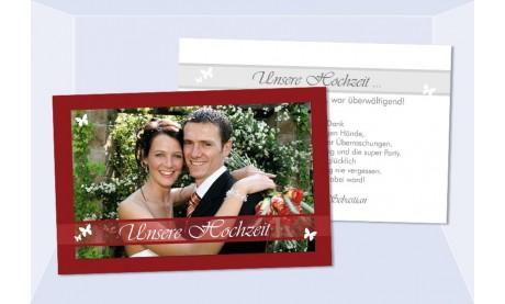 Danksagungskarte, Karte Hochzeit, rot