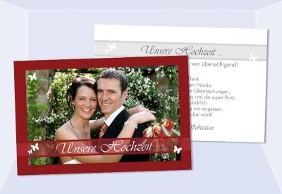 danksagungskarten hochzeit karten danksagung postkarte rot. Black Bedroom Furniture Sets. Home Design Ideas