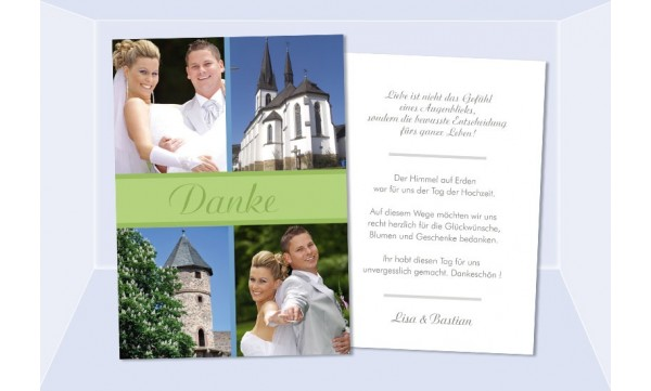 Danksagungskarte, Karte Hochzeit, Postkarte, grün