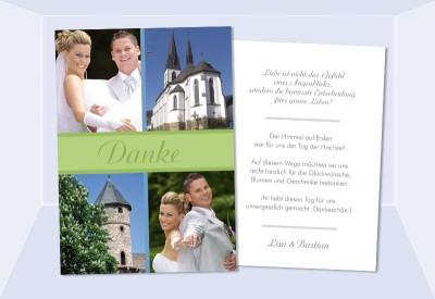 Danksagungskarten Hochzeit, Karten, Danksagung, Postkarte, grün