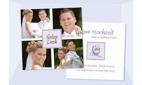 Danksagungskarte, Karte Hochzeit, Flachkarte, weiß flieder