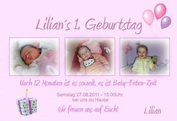 "Einladung Kindergeburtstag ""Geschenk"", Fotokarte 10x15 cm, rosa"