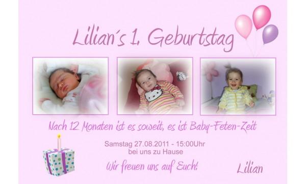 Einladung Kindergeburtstag Geschenk Fotokarte 10x15 Cm Rosa