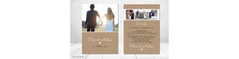 Dankeskarten Hochzeit Vintage Kraftpapier Postkarte Nature Vintage diy Stil modern