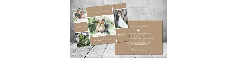 Dankeskarten Hochzeit Vintage Kraftpapier Postkarte Nature Vintage diy Stil modern viele Fotos