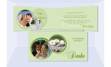 Karte Hochzeit Danksagungskarte DIN Lang, grün