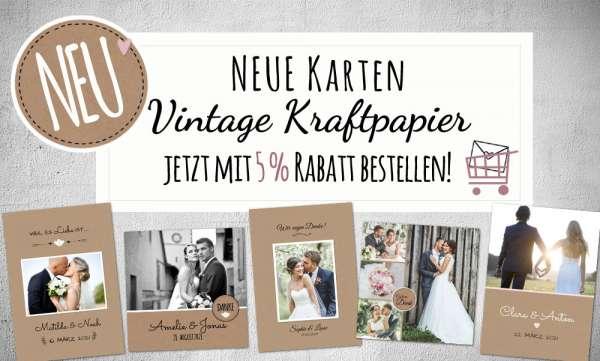 Dankeskarten Hochzeit Vintage Kraftpapier Postkarte Nature Vintage diy Stil