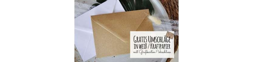 Danksagung Hochzeit Postkarte Kraftpapier Naturell modern Vintage diy