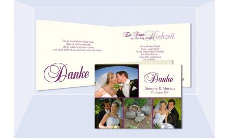 Karte Hochzeit Danksagungskarte, Klappkarte A6, creme beere
