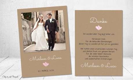 Danksagung Hochzeit Polaroid Postkarte Vintage diy Kraftpapier naturell modern Dankeskarte