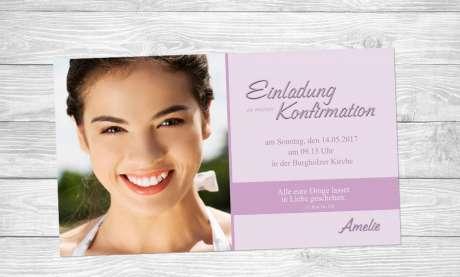 Einladung Kommunion Fotokarte rosa
