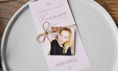 Einladung Kommunion Vintage mit Foto Mädchen rosa