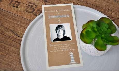 Einladung Kommunion Vintage mit Foto Anker Lechtturm