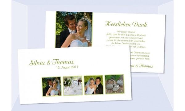 Danksagungskarte Karte Hochzeit, weiß grün