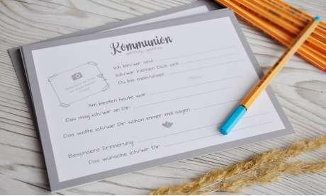 Gästebuch Eintragkarten Kommunion / Konfirmation