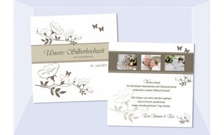 Danksagungskarte, Karte Silberhochzeit, Goldene Hochzeit