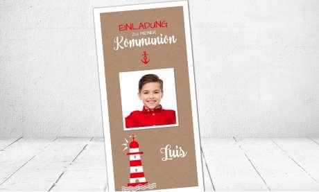 Einladungskarten Kommunion Leuchtturm Kraftpapier Vintage Maritim Anker